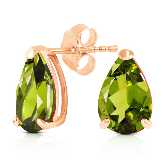 Gold Stud EARRING With NATURAL PERIDOTS