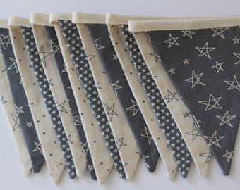 Grey star bunting - grey star garland - kids room or nursery decoration