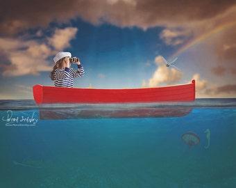 Row Boat in the Ocean Digital Backdrop - Underwater Scene - Digital Photography Background - Boat Background - Water Scene Background