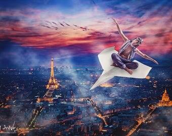 Paris France Digital Backdrop - Paper Airplane - Eiffel Tower - Digital Background - Photography Backdrop - Aerial View - Boys Photo Prop.