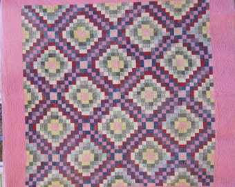 Antique American 'Philadelphia Pavement' Vintage Quilt / Queen Size Quilt #17285