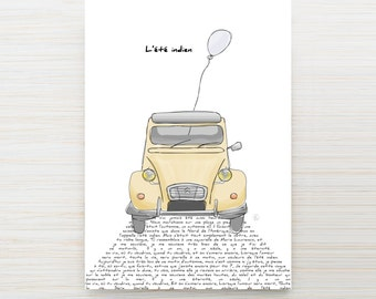 "Map 2cv ""love song"" Indian summer - customizable"