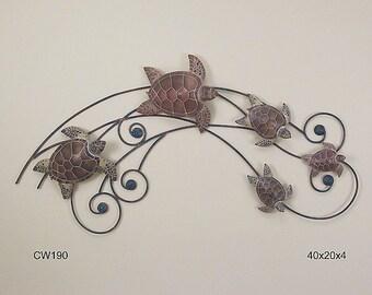 Sea Turtle Wave Metal Wall Art - CW190