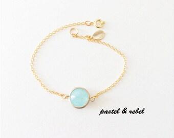 gold filled bracelet, genuine chalcedony,  leaf