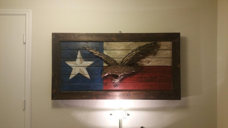 Art Décor: Rustic Texas Flag With Eagle Wall Art Decor
