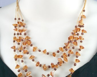 Synthetic Amber Chips Waterfall Neklace