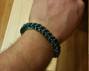 Green/Blue Half-Persian 3in1 Chainmaille Bracelet