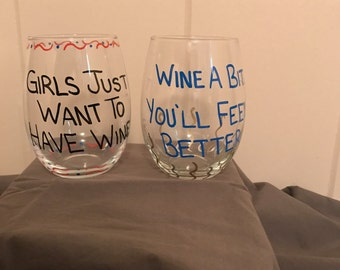 Custom wine glasses (set of 4)