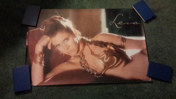 star wars princess leia carrie fisher gold bikini poster 2007