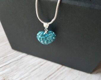 Shamballa heart turquoise necklace