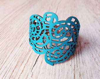 Filigree blue leather bracelet