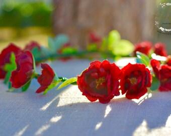 "The ""Debora"" floral halo crown // romantic wedding, birthday crown, red rose crown, red wedding, bridesmaid headpiece, flower girl cr"