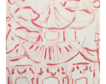Pink Pagoda - Chic Preppy Art -        Chinoiserie Inspired - Coral & White