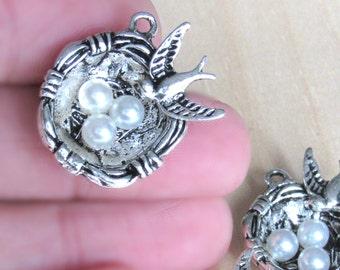 Bird Nest pendant, set of 2,  silver bird nest, silver bird charm, egg bird nest, Nature charms, egg nest charm, mother bird, tree nest