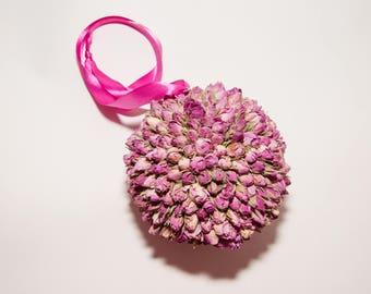 Pink Dried Rosebud Pomander/Kissing Ball