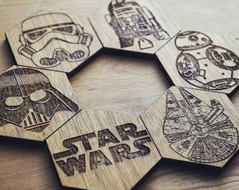 Star Wars set of 6 hexagonal Coasters