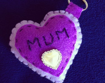 Heart keychain-felt heart keyring-personalised gift-sweetheart gift