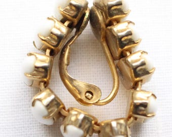 Very Unique Vintage Wrap Around Gold Tone and Marquis Shaped White Cabochon Bead Clip On Earrings