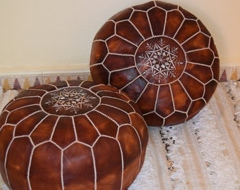 """Set of 2 Leather poufs, ottoman luxury tanned oiled floor poufs, moroccan home decor 16"""" tall"""