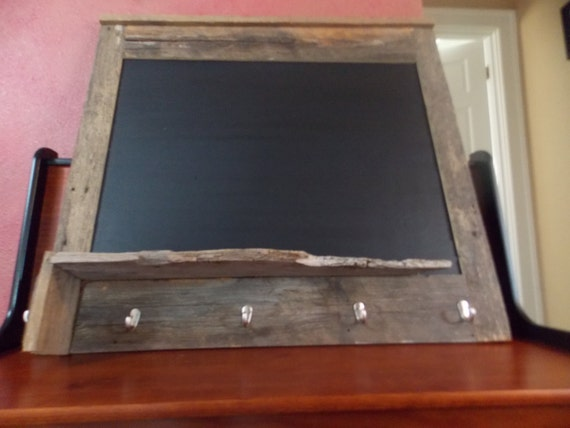 Rustic, one of a kind, unique, weathered Blackboard/Chalkboard with hat hangers