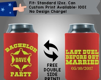Bachelor Name Party Last Duel Before Get Married Date Collapsible Fabric Bachelor Party Can Cooler Double Side Print (Bach9)