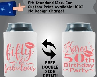 Fifty & Fabulous Name's 50th Birthday Party Neoprene Birthday Can Cooler Double Side Print (Birth11)