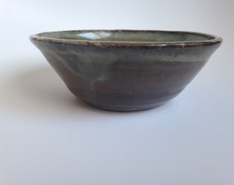Medium Ceramic Bowl--Brown and Blue