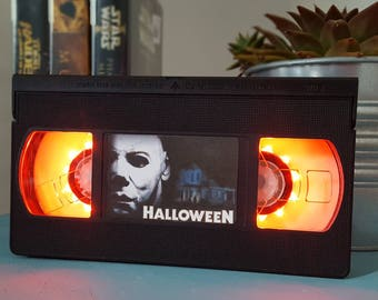 Retro VHS Halloween Horror Scifi Night Light Table Lamp. Order any film, movie, series, or actor! Great personal gift. Man Cave.