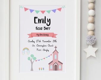 Girls and Boys Personalised Christening Print