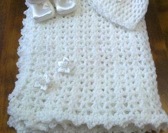 Custom made hand crochet baby blanket hat and bootie set