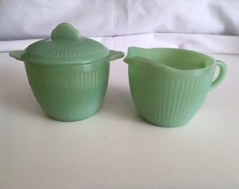 HTF Fire King Jadeite Jane Ray Set of Sugar & Creamer with Lid