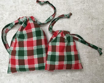 Kit 2 smallbags - single - fabric Scandinavian red and green Plaid - reusable cotton bag - zero waste