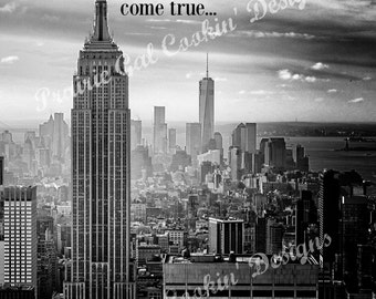 INSTANT DOWNLOAD - Where Dreams Come True New York City Planner Divider Wall Art Black White Life
