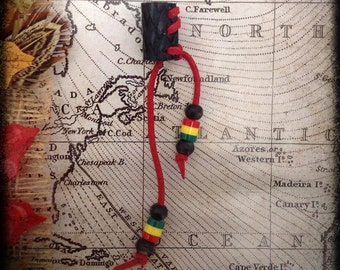 VEGAN - S/M - Unique hand crafted, up-cycled PVC, Rastafarian dread/hair cuff/bead with beaded tails.