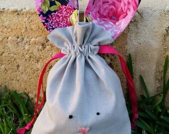 Navy pink floral easter bunny bag
