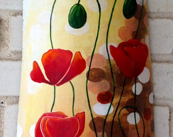 Hand-painted Terracotta Roof Tile, Acrylic, WILD POPPIES