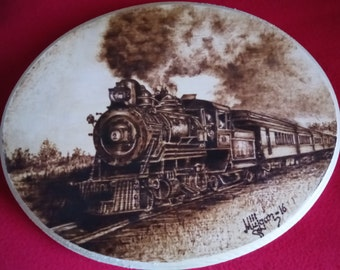 Steam Train Pyrography  Wood burning