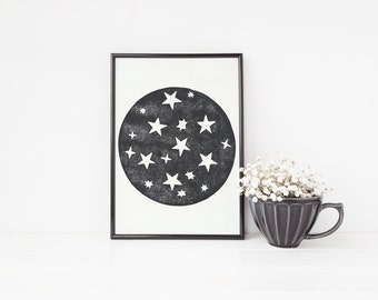 Moon print, linocut, Outer space print, galaxy print, moon and stars print, celestial, nursery wall art, A4 Art Print, Black and White