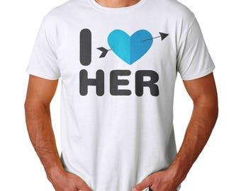 I Love Her Men's White T-shirt
