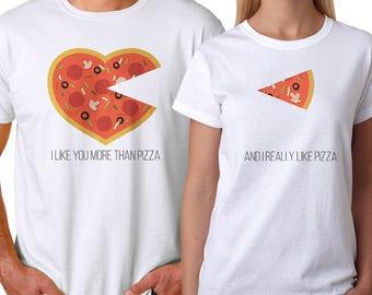 I Love you Like A Pizza Couple White T-shirt