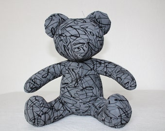 Statuette leather - Teddy Bear MADRID grey MM series limited edition of 8 pieces