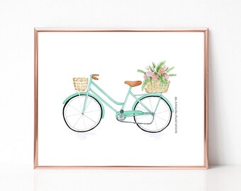 Mint green bicycle, flower, fashion illustration print, art print, sketch, croquis,