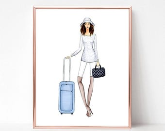 Jet setter, fashion illustration print, art print, sketch, croquis, travel, traveller,