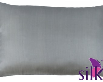 SILVER GRAY 100% Pure Mulberry Silk Pillowcase 19 momme Queen  Hair & Facial Beauty Anti-aging Hypoallergenic