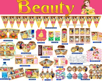 80% OFF SALE Beauty and the Beast Decorations Full Printable Package - Instant Download - PDF Files - High Resolution - Holiday Party