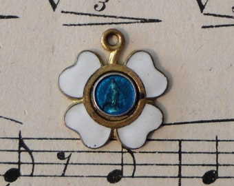 Antique French Four Leaf Clover / Miraculous Madonna Enameled Medal c1920