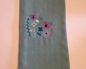 Embroidered Bird and Flowers Kitchen Towel