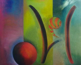 "Large Abstract Painting, Original Wall Art 78"" x 58"""