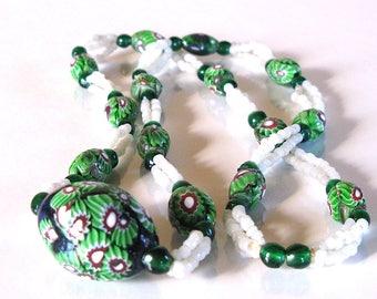 Antique vintage art deco venetian Murano millefiori necklace art glass beads trade beads