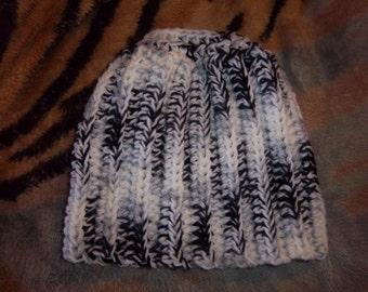 Zebra crochet pony tail/messy bun hat - Adult size